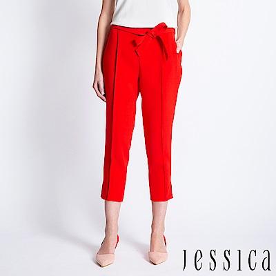JESSICA - 立體線條設計綁帶九分褲(紅)