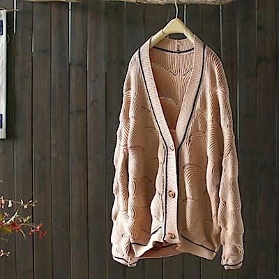 鏤空貝殼紋寬鬆鑲邊外套針織衫-Y4870-設計所在