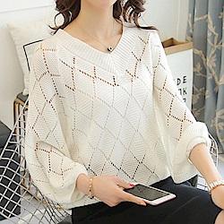 IMStyle 鎖骨針織衫樓空罩衫(三色)
