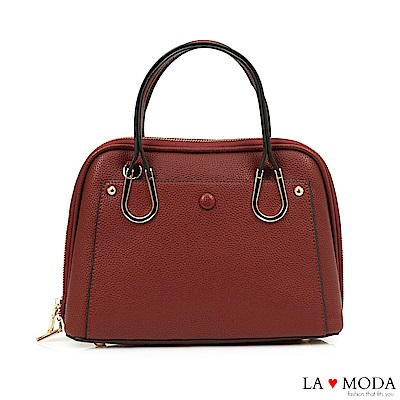 La Moda 優雅淑女風釦飾荔枝紋手提肩背包(紅)