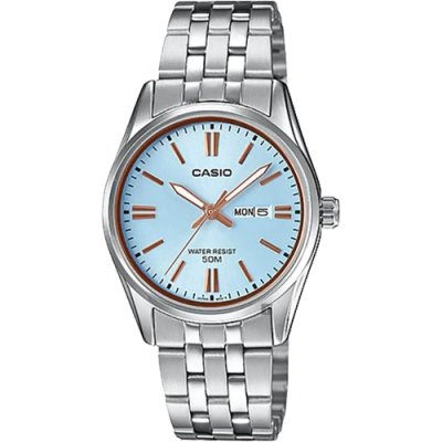 CASIO 卡西歐 城市日曆女錶-淺藍x銀(LTP-1335D-2AV)