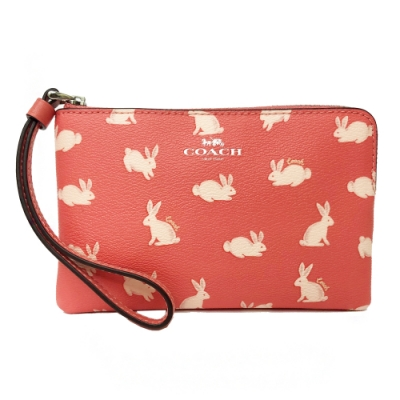 COACH 兔子印花手拿包零錢包(粉)