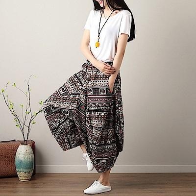 La Belleza大象民俗圖騰棉麻休閒垂墬感闊腿褲燈籠褲
