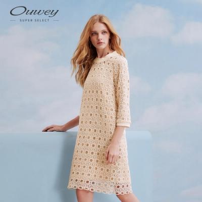 OUWEY歐薇 水溶蕾絲A字七分袖洋裝(米)