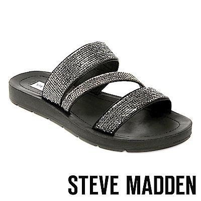 STEVE MADDEN-PRAISE-R-水鑽寬版質感拖鞋-黑色