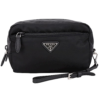 PRADA Vela 小型三角牌尼龍可拆式手挽包(黑色)