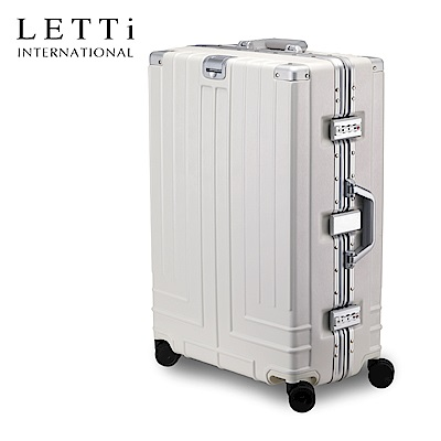 LETTi  花漾年華 25吋拉絲質感鋁框行李箱 (典雅白)