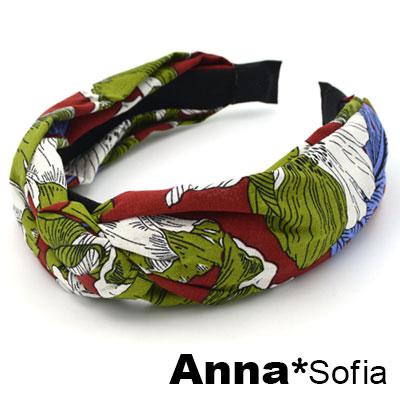 AnnaSofia 春紛花卉中央結 韓式寬髮箍(酒紅底)