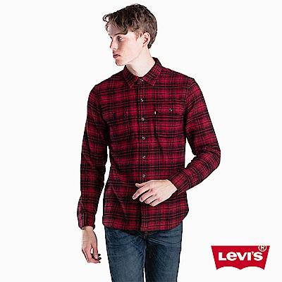Levis 男款 襯衫 紅黑格紋 胸前雙口袋