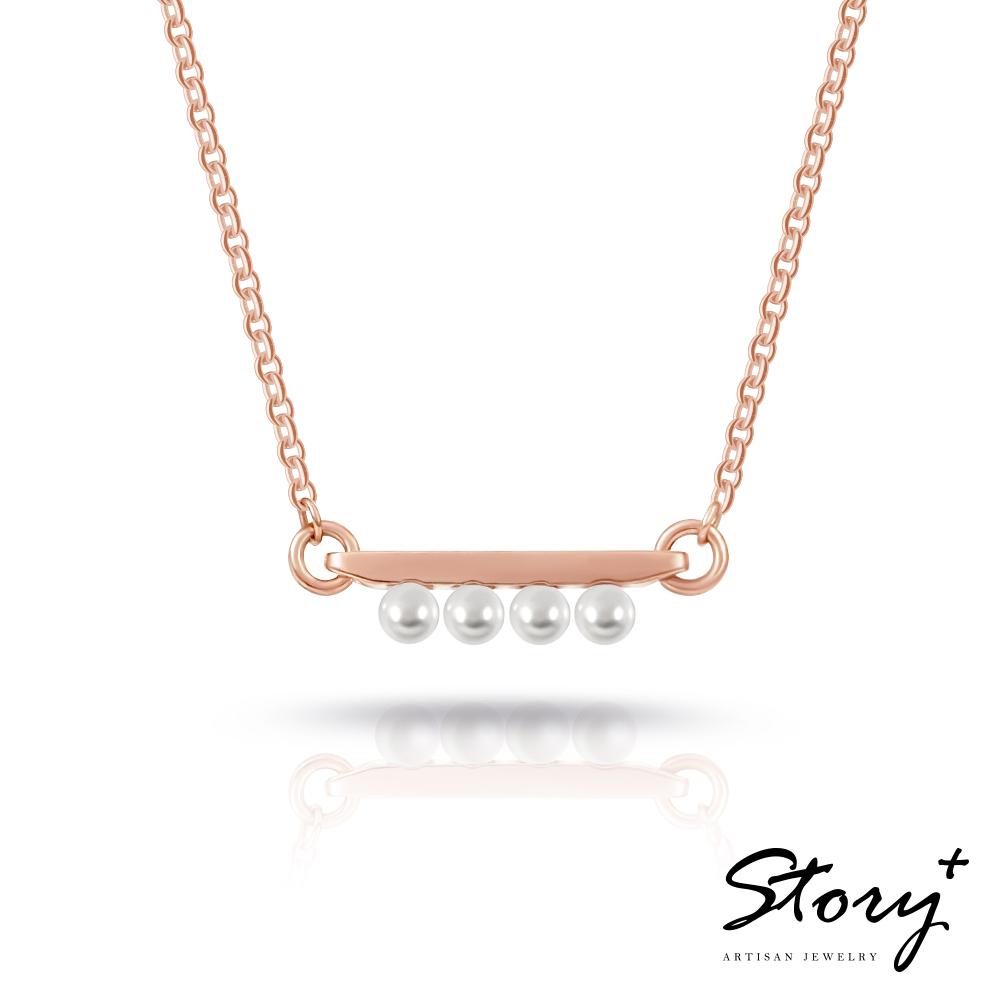 STORY故事銀飾-三重奏Trio-施華洛世奇珍珠項鍊(玫瑰金)