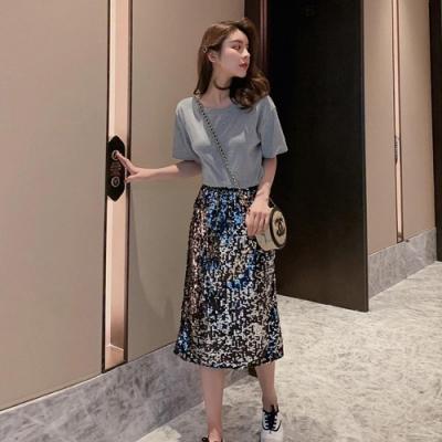 IMStyle 短袖棉T珠片裙套裝 (兩件組)(2色-灰色、黑色)