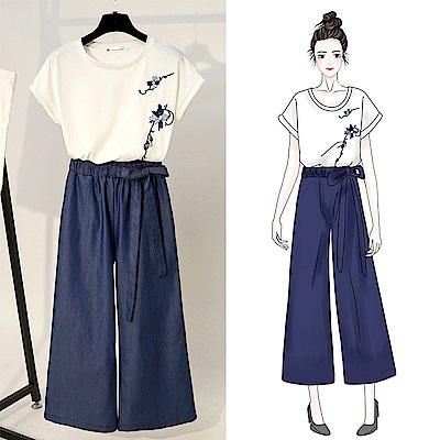 初色舒適上衣牛仔寬褲兩件式套裝-藍白-M-XL可選