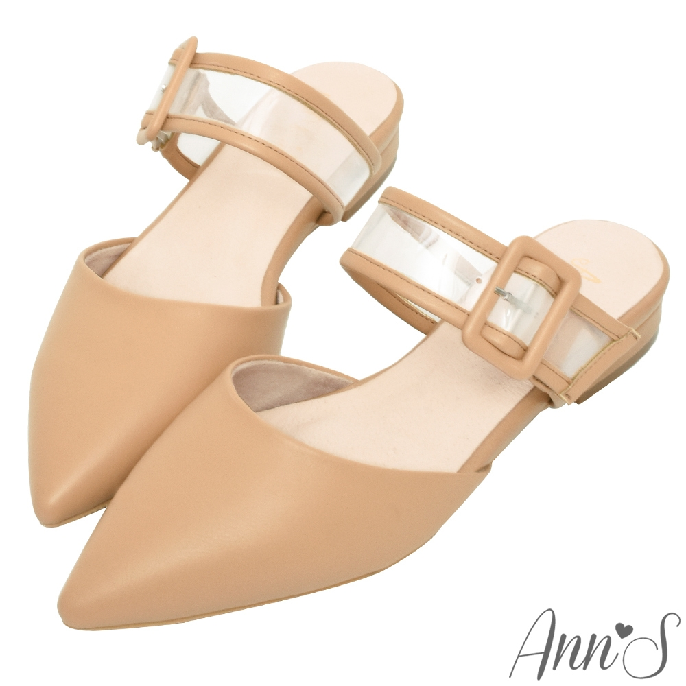 Ann'S方扣軟質透明寬帶尖頭穆勒粗跟鞋-杏(版型偏小)