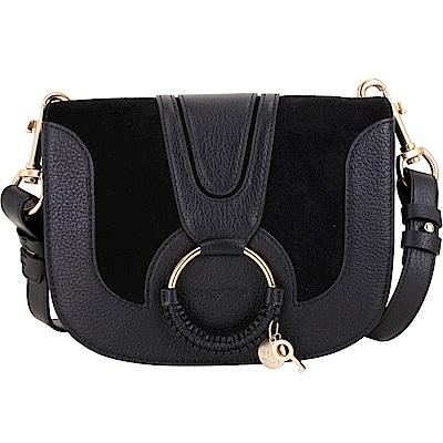 SEE BY CHLOE HANA 小款編織金屬圈拼接麂皮手拿/肩背包(黑色) @ Y!購物