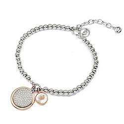 Emporio Armani亞曼尼 品牌水鑽吊飾珍珠母貝圓珠手鍊 銀色