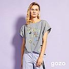 gozo 定義世界幾何線條字母細格紋上衣(二色)