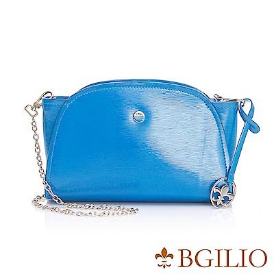 義大利BGilio-經典漆亮牛皮元寶小包-藍色1970.001B-09