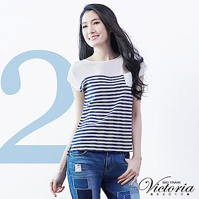 Victoria 條紋拼接寬鬆短袖T-女-藍白條