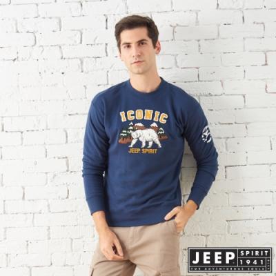 JEEP 森林探險立體刺繡長袖TEE-男女適穿 -深藍色