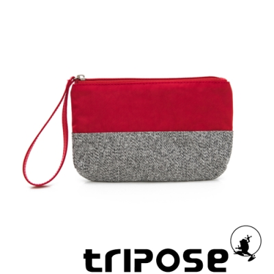 tripose漫遊系列岩紋x微皺尼龍多功能手拎袋(大)紅色
