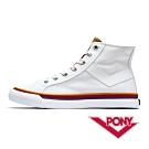 【PONY】Shooter系列 格紋配色高筒帆布鞋 休閒鞋  女鞋 白色