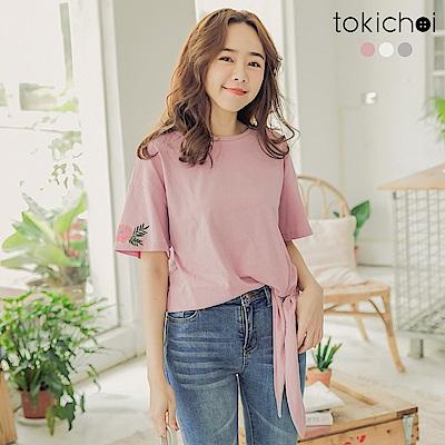 東京著衣-個性少女多色刺繡設計側蝴蝶結綁帶上衣-S.M.L-(共三色)