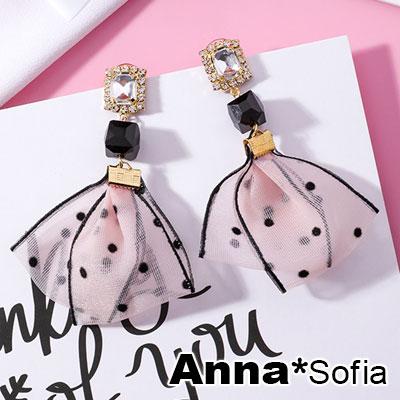 【3件599】AnnaSofia 方晶甜美俏點布飾 中大型耳針耳環(粉金系)