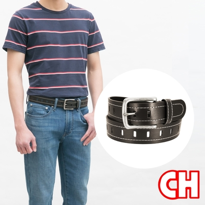 CH-BELT經典車線排洞設計牛仔中性皮帶腰帶(咖)
