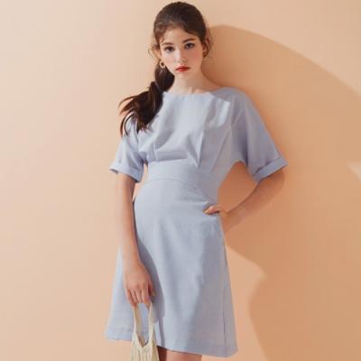 AIR SPACE LADY 圓領袖口反折五分袖洋裝(藍)