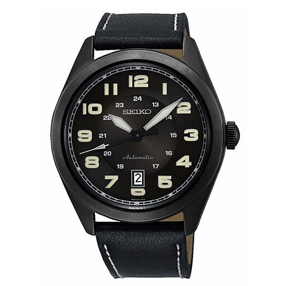 SEIKO 精工 飛行真皮機械手錶SRPC89J1-黑/44mm