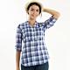 法國【EiDER】女排汗透氣抗UV七分袖襯衫 EIT2671-紫藍格 product thumbnail 1