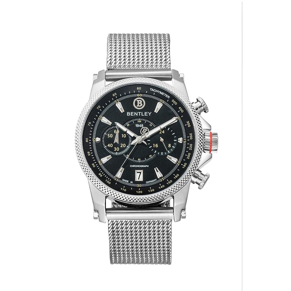BENTLEY賓利 RACING系列 競速美學計時手錶-黑/米蘭帶/43mm