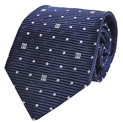 DAKS 經典品牌LOGO圖騰紋領帶(藍底)