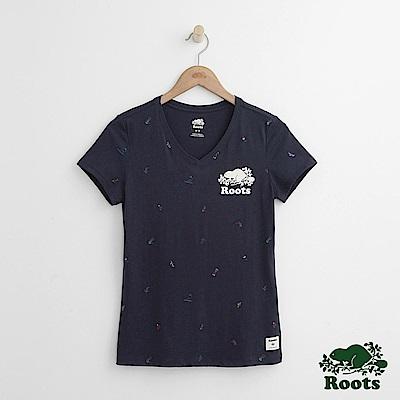 Roots -女裝- 滿版滑冰V領短袖T恤 - 藍