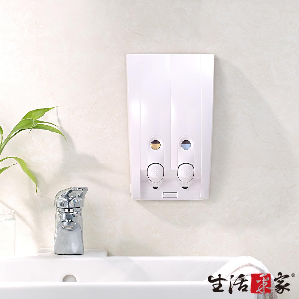 生活采家 幸福手感雙孔手壓式給皂機350ml-典雅純白