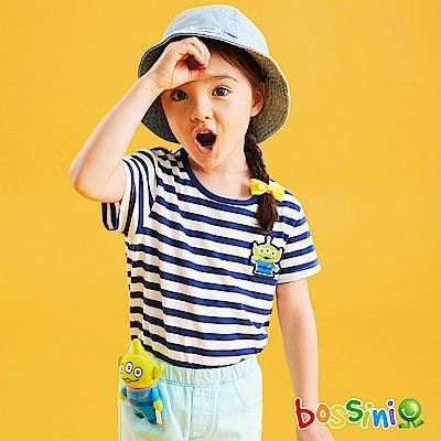 bossini女童-玩具總動員條紋T恤-三眼怪淺綠松