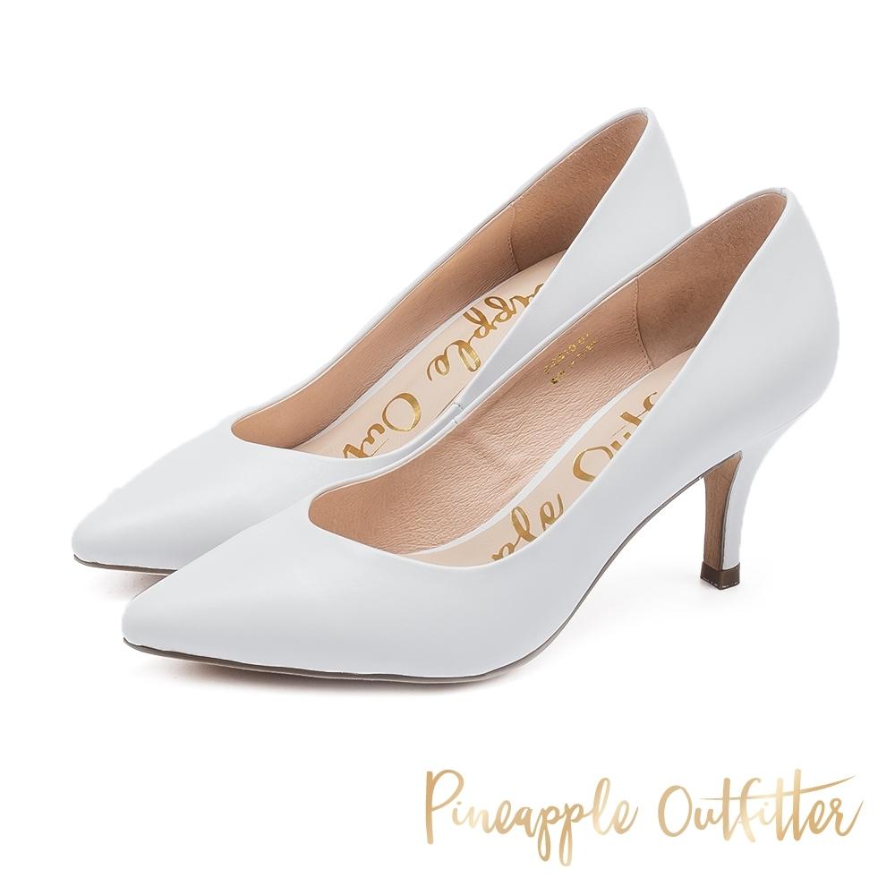Pineapple Outfitter 優雅美型 真皮尖頭中跟鞋-白色