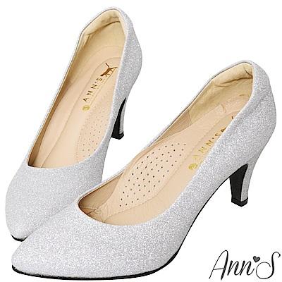Ann'S睡美人-訂製晶鑽3D氣墊尖頭高跟鞋-銀