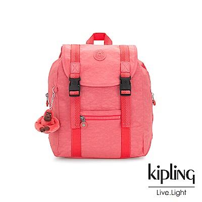 Kipling 甜美蜜桃橘素面雙扣掀蓋後背包-AICIL