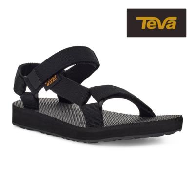 【TEVA】原廠貨 幼/中/大童 Original Universal 經典緹花織帶涼鞋/雨鞋/水鞋/童鞋(黑色-TV1116656CBLK)