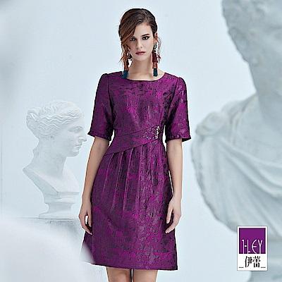 ILEY伊蕾 花朵織蔥貴氣感五分短袖洋裝(紫)