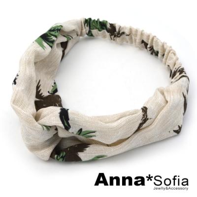 AnnaSofia 夏日椰樹交叉結 彈性寬髮帶(米黃底系)