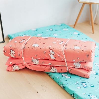 奶油獅-森林野餐-台灣製造-外宿學生必備可拆洗可捲式澎柔單人3尺床墊-橘紅