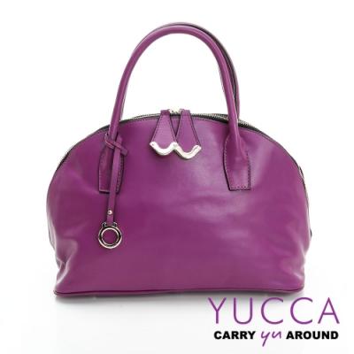 YUCCA摩登牛皮貝殼手提側肩包-紫色-D0090062C60