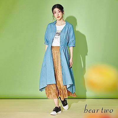 beartwo 襯衫V領收腰排釦牛仔洋裝(二色)