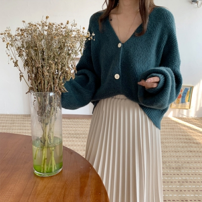 艾米蘭-簡約V領排扣毛衣-4色-F