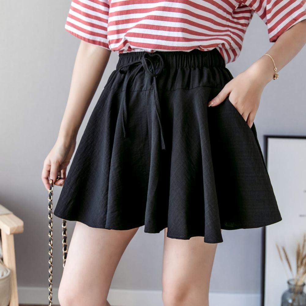 La Belleza鬆緊腰抽繩綁帶側口袋雪紡波浪短裙(內襯短褲)