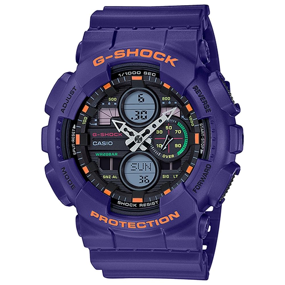 G-SHOCK 超人氣雙顯復古撞色運動錶(GA-140-6A)-51.2mm
