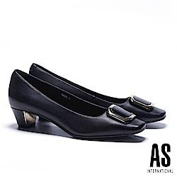 低跟鞋 AS 時尚電鍍烤漆釦飾羊皮方頭低跟鞋-黑