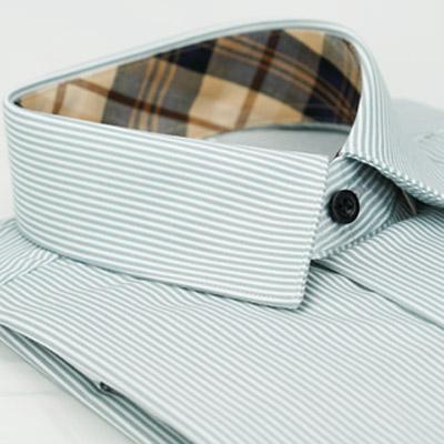 金‧安德森 經典格紋繞領灰白條紋窄版長袖襯衫fast